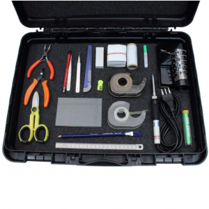 Strain gage installation kit including the required tools for the application of the strain gages.