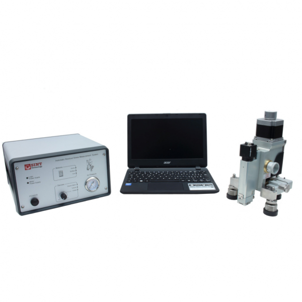 Residual stress device for hole drilling measurements using high speed drilling and digital microscope