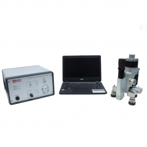 Residual stress device for hole drilling measurements using high speed drilling and optical microscope