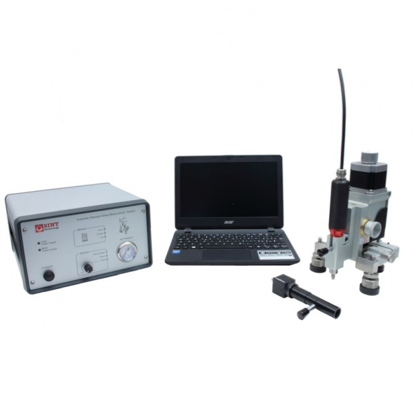 Residual stress device for hole drilling measurements using electric motor drilling for metallic materials and digital microscope