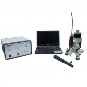 Residual stress device for hole drilling measurements using electric motor drilling for metals and optical microscope