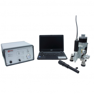 Residual stress device for hole drilling measurements using electric motor drilling for polymers and optical microscope