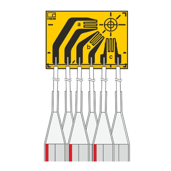 HBK strain gage rosette with 3 grids, for hole drilling measurements 5.10mm, rectangular layout with 4 wires connection cables (3 m).